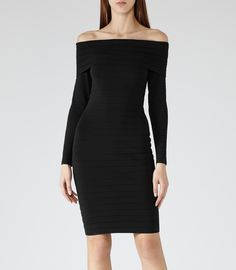 Womens Black Off The Shoulder Dress - Reiss Bowery