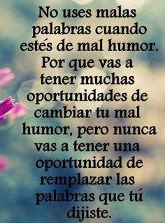 No uses malas palabras cuando estés de mal humor #motivacion #superacion #reflexiones #exito