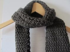 Inspiration for last night's project! A chic & manly granite toned crocheted scarf!