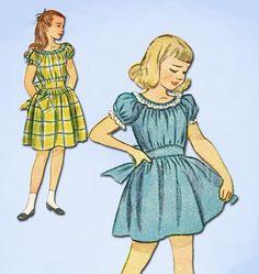 1940s Vintage Simplicity Sewing Pattern 2096 Sweet Little Girls Dress Size 10