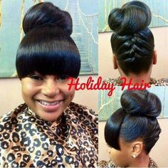 Cute updo with bangs. cute updo with bangs bun hairstyles My Hairstyle, Ponytail Hairstyles, Weave Hairstyles, Wedding Hairstyles, Hairstyles 2018, Natural Updo Hairstyles, Wavy Ponytail, Holiday Hairstyles, Updos