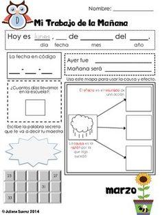 My Morning Work Routine in Spanish (Marzo) by Kinder Bilingue by Juliana Suarez | Teachers Pay Teachers