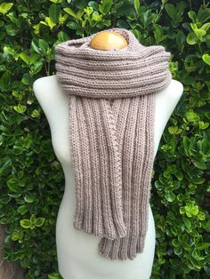 Hand Knitted Scarf  Beige  Luxurious Long Ribbed Scarf by JillyMix