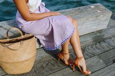 How to make a DIY Wrap Skirt, made with linen and a pom pom hem.