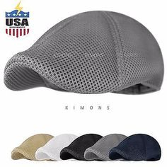Soft Mesh Newsboy Gatsby Cap Mens Ivy Hat Golf Driving Summer Sun Flat  Cabbie a3b74ea4ec24