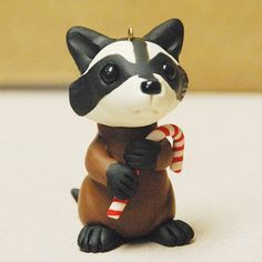 polymer clay racoon ornament