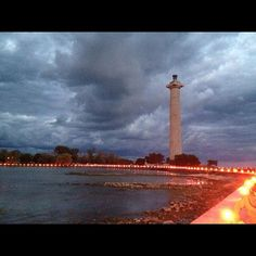 Lights of Peace Illumination of Put-in-Bay Harbor, Sept. 2012. Lake Erie and Perry's Victory and International Peace Memorial Monument.