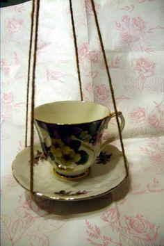 #craftshout0402 Upcycled Tea Cup Bird Feeder Bird Bath by CraftingMemoriesOhio