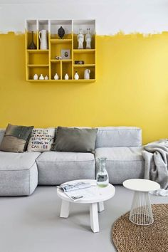 Yellow accent wall, light grey floor. Méchant Studio Blog: Let's the sunshine in