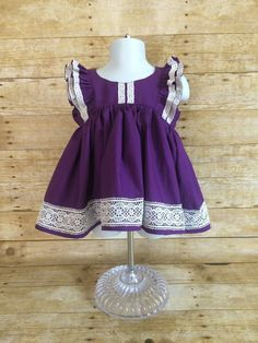 Purple and lace Clara dress  flutter sleeve by NaomiBeeBoutique