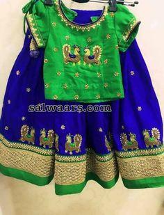 Blue Green Peacock Kids Lehenga Kids Dress Wear, Kids Gown, Kids Wear, Children Wear, Baby Lehenga, Kids Lehenga Choli, Lehenga Blouse, Sarees, 1st Birthday Girl Dress