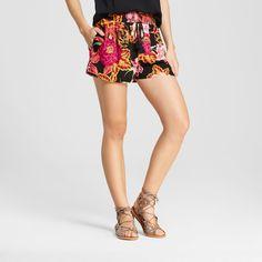 Women's Smocked Waist Shorts - Xhilaration (Juniors') Magenta (Pink) Xxl