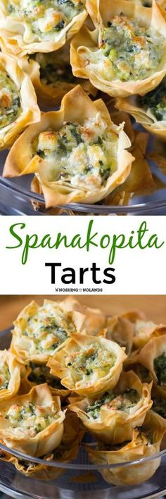 Spanakopita Tarts by Noshing With The Nolands are the perfect bite sized appetizer for game day or anytime of year! This savory Greek pastry is always a hit!