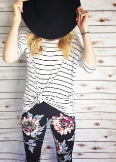 Tie a knot in your Irma# top to flatter your figure in all the right places! Love the stripes with the floral leggings# too, by the way!