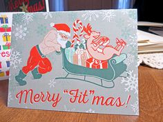 Crossfit Inspired Christmas Cards - Merry Fitmas Santa Sled Push - Fitness Weightlifting Gift Holiday Greeting Card by PowerSnowDesigns on Etsy https://www.etsy.com/listing/255742765/crossfit-inspired-christmas-cards-merry