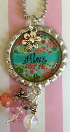 Custom personalized bottle cap necklace with full bling, flower charm,  purse bling, kids, gift idea. Etsy.