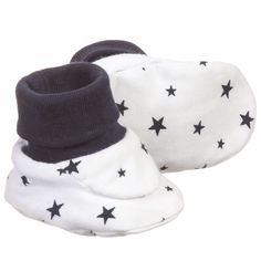 ABSORBA White & Navy Blue Star Baby Bootees