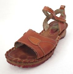 El Naturalista 9.5 - 10 Brown Leather Wedge Ankle Strap Sandals - Made in Spain