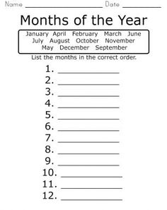 Months of the Year Worksheet: