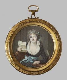 In this circular miniature, Mlle de Montbrizon looks up from her desk with a letter in her hand. Polite and expressive letter writing was a highly prized social accomplishment in 18th-century France. In Paris, the French capital, notes and letters crisscrossed the city; by the mid-century, there were up to nine deliveries of mail each day. Although the sitter in this miniature is shown with a quill and elegant writing furniture, we can tell from the way in which it is folded and addressed…