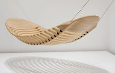 A plywood hammock was designed in 2010 by Australian Adam Cornish to be made fro a single plywood panel. Rubber cables hold the pieces in stable position.