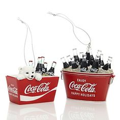 Coca-Cola Set of 2 Ornaments - Bottles in Coolers and Bottles and Polar Bear in Coolers at HSN.com.