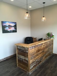 Desks - Barn Doors and Custom Furniture Barber Shop Decor, Salon Interior Design, Desk, Grey Writing Desk, Wood Reception Desk, Salon Decor, Law Office Design, Office Design, Reclaimed Wood Bars