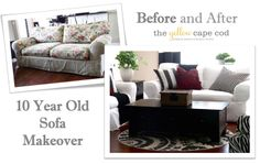 The Yellow Cape Cod: Ten Year Old Sofa Makeover - Check out the amazing before and after...