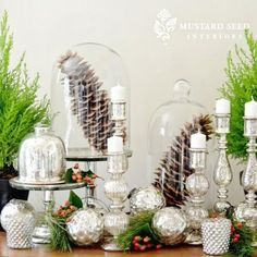 mercury glass christmas deecorating | pretty mercury glass and greenery at christmas | Christmas Decor