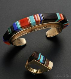Cuff & ring |CharlesLoloma (Hopi). Gold withmosaic band of coral, lapis, turquoise, iron wood, ivory, and four gold spacers. ca. 1974 - 82