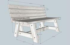 Чертеж садовой скамейки деревянной - 1.