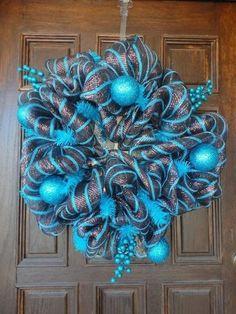 Mesh Christmas Wreaths | christmas brown and turquoise deco mesh wreath `~ / christmas xmas ...