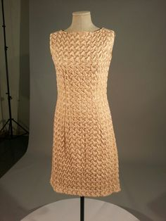 1960s pink and gold evening quilted dress and coat.  From Seneca Fashion Resource Centre