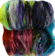Art batt (3.1 oz.) wild rainbow batt for spinning or felting -- Love Charm -- 02 by hobbledehoy