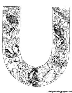 animal alphabet letters http://dailycoloringpages.com/alphabet ... - Challenging Animal Coloring Pages