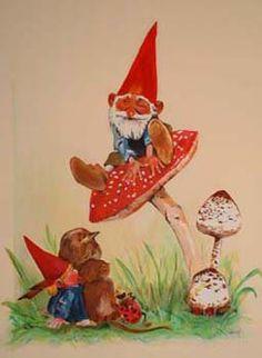 Kabouter Spillebeen (Dutch Children's Song)  Op een grote paddestoel, met witte… Vintage Cards, Vintage Images, Baumgarten, Humanoid Creatures, Legends And Myths, Mushroom Art, Hobgoblin, Dutch Artists, Magical Creatures