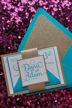 ADELE Suite // STYLED // Fancy Glitter Package, turquoise and gold glitter wedding invitation