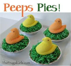 Peeps Pudding Pies!  {plus 8 more fun Peeps Creations!} ~ from TheFrugalGirls.com #easter #peeps