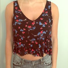 Free People cropped floral blouse size S Free People cropped floral blouse size S Free People Tops Crop Tops