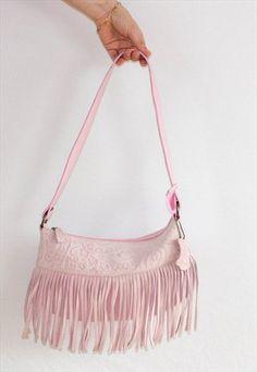 Vintage Pink Leather Tassle Suede Fringed Festival Boho  Bag