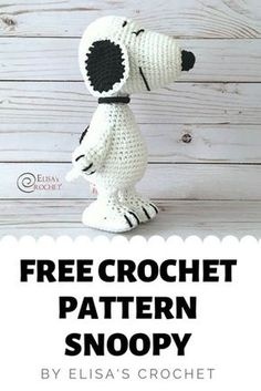A free crochet pattern of Snoopy the dog. Do you also want to crochet Snoopy? Read more about the Free Crochet Pattern Snoopy. A free crochet pattern of Snoopy the dog. Do you also want to crochet Snoopy? Read more about the Free Crochet Pattern Snoopy. Crochet Gratis, Crochet Patterns Amigurumi, Cute Crochet, Crochet Toys, Crochet Animals, Crochet Elephant Pattern, Dog Crochet, Crochet Birds, All Free Crochet