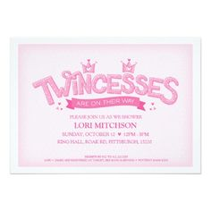 Twincess Twin Girls Baby Shower Invitation (Pink)