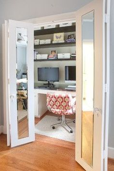 Make your closet into an office, with mirrored doors you can close to shut off outside sound.  Also love the high storage