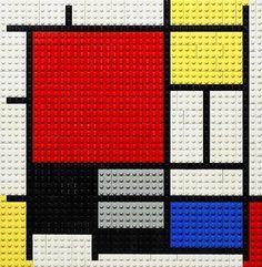 Als het tekenen in Mondriaan-stijl toch wat lastig voor je is, dan durf je misschien wèl met Lego aan de slag te gaan?