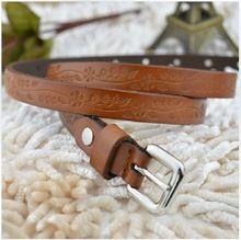 Mode véritable peau de vache en cuir en relief fine ceinture femme sangle décoration  boucle ceintures e8bad745b98