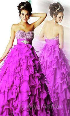 Princess Strapless Fuchsia Chiffon Long Dress Coming06786