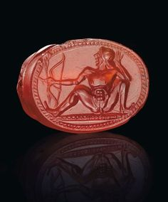 A Greek carnelian scarab with a nude archer, circa early century BC Classical Period, Classical Antiquity, Roman Jewelry, Greek Jewelry, Greek Blue, Greek Art, Ancient Romans, Ancient Art, Ancient Jewelry