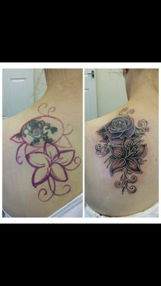 My mums cover up. Had taz before, now it's a rose and lily combo done to perfection in black and grey with some purple shading