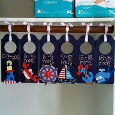 Nursery nautical closet dividers...like the design, not the nautical