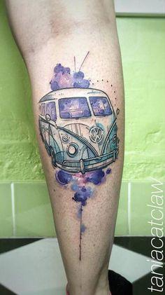 Sketch work style Volkswagen Type 2 (T1) van tattoo on the right calf.